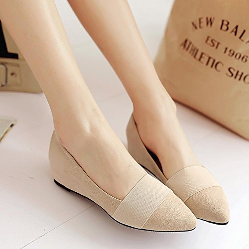 Mid Comfy Dolly Heels Dress Shoes Pumps Wedges Elastic Girls Ladies Fashion Beige School COOLCEPT S8xq4zwazf