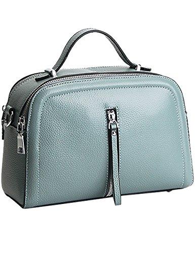 CUKKE Damen Echtes Leder Handtasche Elegant Taschen Weiß Blau