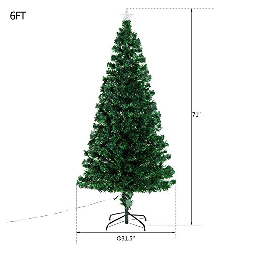 6' Artificial Holiday Fiber Optic / LED Light Up Christmas Tree w/ 8 Light Settings and Stand by HOMCOM (Image #3)