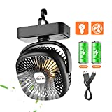 5. OUTXE Camping Fan with Night Lights USB Rechargeable Tent Fan 4400mAh Personal USB Camping Fan Lightweight