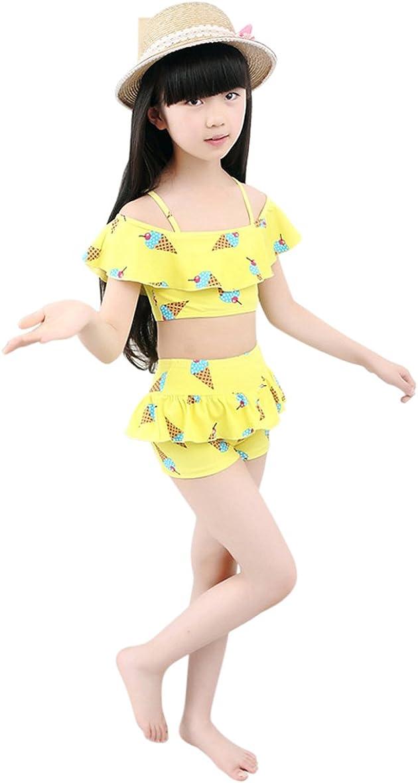Tortor 1Bacha Baby Girls Cute Swimsuits Pink Two Piece Cake Printed Skirt Swimwear Sets 9-15T