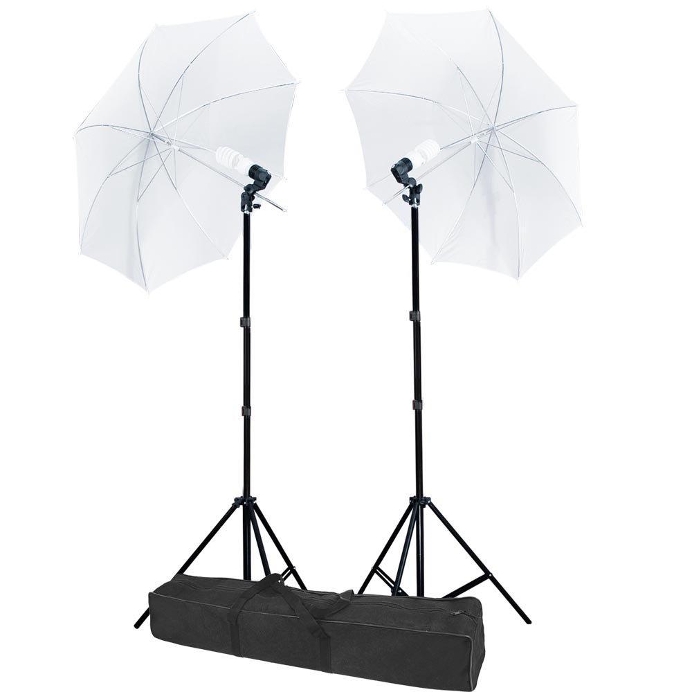 AW Photo Studio Translucent White Umbrella 2X Photography Lights Lighting Kit 33''