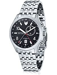Mens SE-9060-11 Mission Gmt Alarm 2 Hand Date Black Stainless Steel Watch