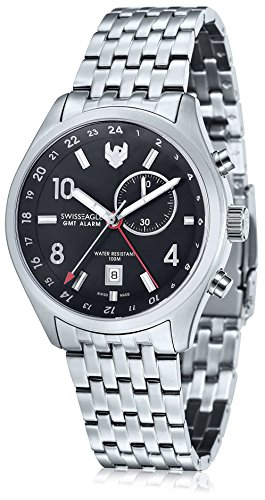 Swiss Eagle Men's SE-9060-11 Mission Gmt Alarm 2 Hand Date Black Stainless Steel Watch