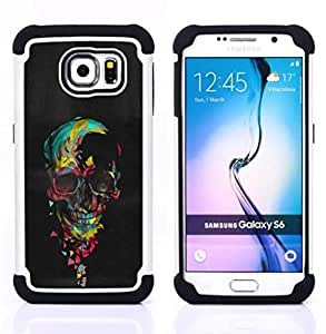 For Samsung Galaxy S6 G9200 - SKULL COLORFUL BLACK PAINT HEART PINK Dual Layer caso de Shell HUELGA Impacto pata de cabra con im??genes gr??ficas Steam - Funny Shop -