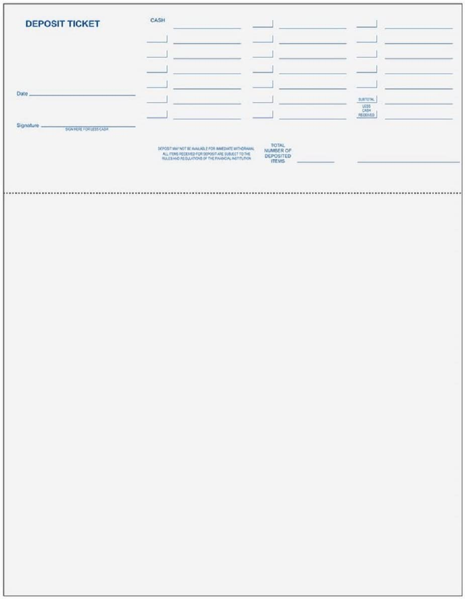 Laser Deposit Tickets for Computer Programs Including Quickbooks and Quicken 250