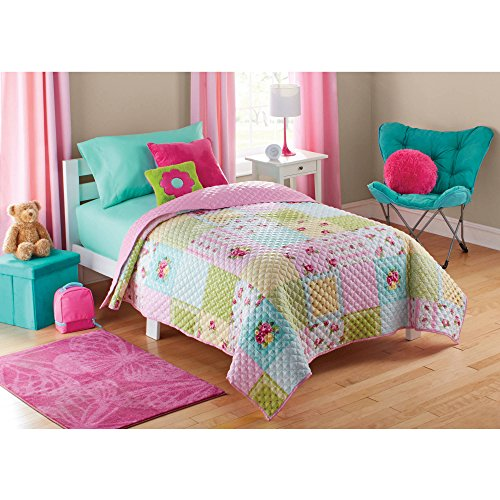 Beautiful and Colorful Floral Patterns Kids Shabby Patch Quilt