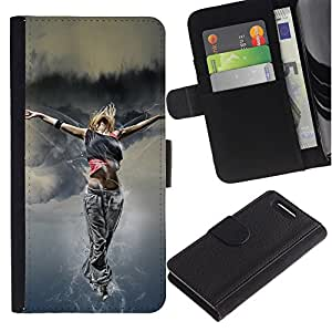 KingStore / Leather Etui en cuir / Sony Xperia Z1 Compact D5503 / Danza Mujer Street Style Outfit Fashion Art