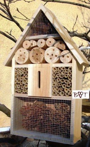 Insektenhotel groß, BTV natur hell, Insektenkasten, farbige Nistkästen Holz für Insekten, als Ergänzung zum Meisen Nistkasten, Meisenkasten oder zum Vogelhaus - grosses Insektenhotel, Insektenhotels, Futterhäuser, Vogelfutterhaus,Futterstation für Vögel Insektenhäuschen - ökologische biologische natürliche Blattlausbekämpfung - I- Tolle Farbwahl - Marienkäferhaus Marienkäfer Marienkäferkasten Schmetterlingshaus Schmetterlinge Gartendeko