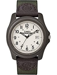 Men's T49101 Expedition Camper Green Nylon/Leather Strap Watch