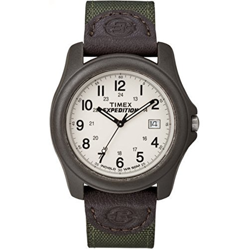 Green Leather Strap - Timex Men's T49101 Expedition Camper Green Nylon/Leather Strap Watch