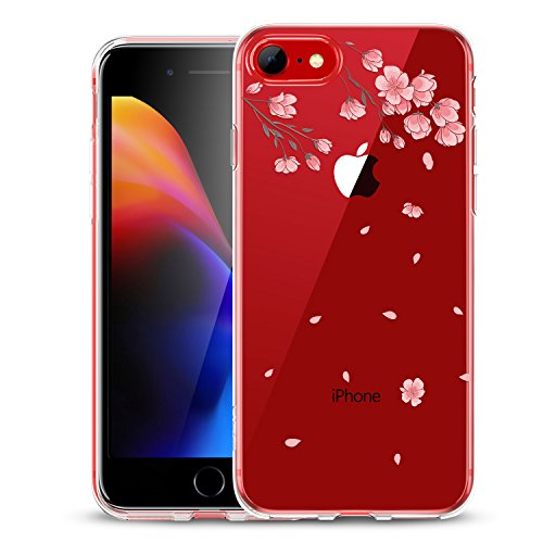 iPhone 8 Case, iPhone 7 Case, ESR Clear Soft Cute Cartoon Pattern Case[Slim Fit][Support Wireless Charging] for iPhone 8(2017)/iPhone 7(2016)(Cherry Blossoms)