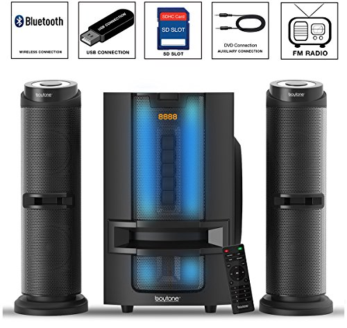 Boytone BT-426F, 2.1 Bluetooth Powerful Home Theater Speaker System, with FM Radio, SD USB ports, Digital Playback, 50 Watts, Disco Lights, Full Function Remote Control, for Smartphone, Tablet.
