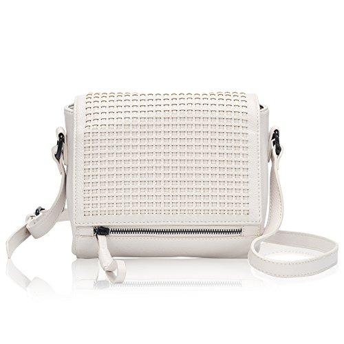 Flapover Leather Crossbody Bag Weaving Handbags Shoulder Purse Bag