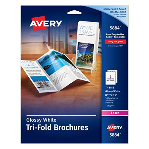 Avery Brochures for Color Laser Printers 8.5 x 11, White, Glossy, Pack of 50 (5884) by Avery