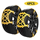 SUPTEMPO Snow Chains for Tyres, Universal Snow Chains for Car Wheels with Width 165-285mm, Set of 6Pcs