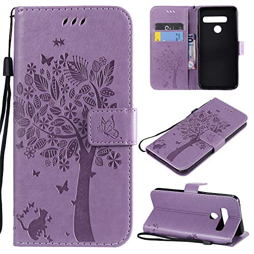 Price comparison product image Aslim LG G8 Case,  LG G8 ThinQ Flip Case, LG G8 PU Leather Wallet Embossed Floral Tree Cat Case with Kickstand Flip Cover Credit Card Slots Holder Case for LG G8 ThinQ / LG G8 Light Purple