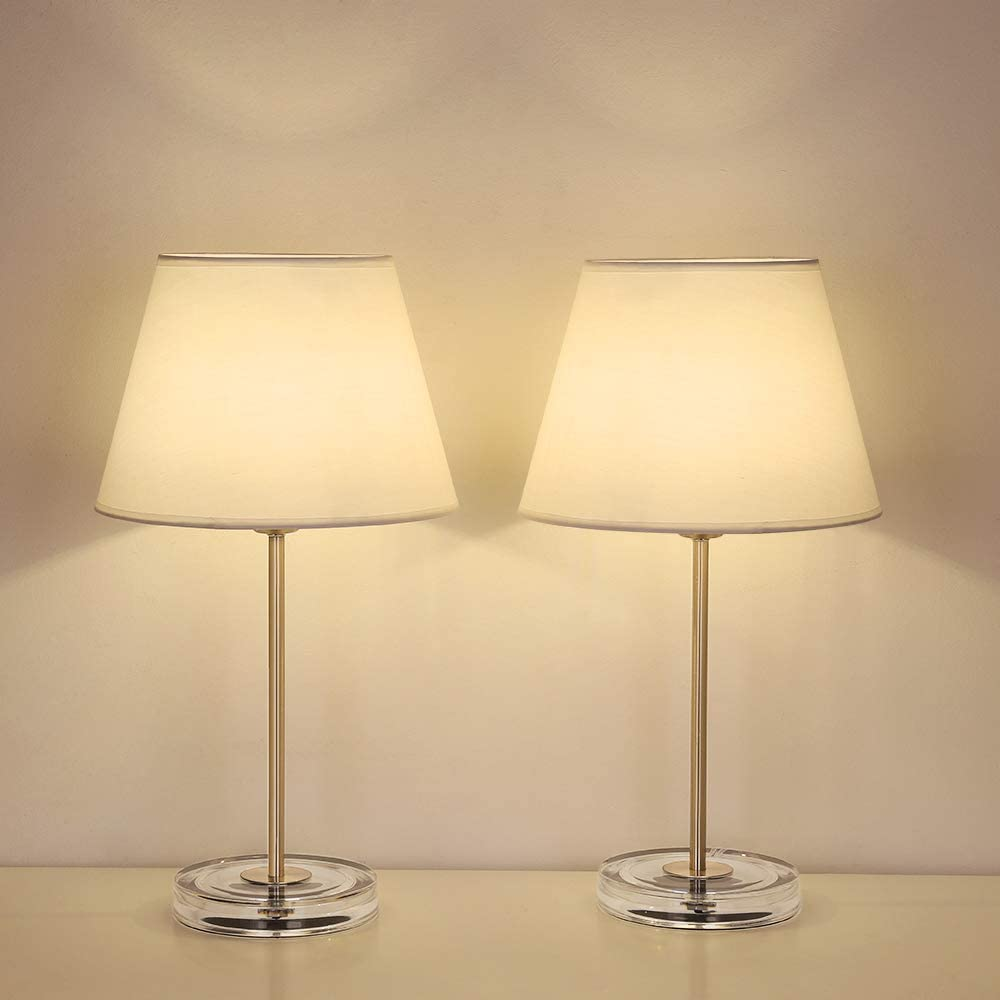 HAITRAL Modern Table Lamps Set of 2- Bedside Lamps with Acrylic Base, Small Nightstand Lamps for Bedrooms, Office, Dorm, Girls Room -Silver, White Fabric Shade