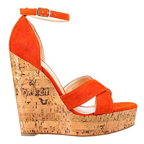 EKS - Sandalias de vestir para mujer naranja