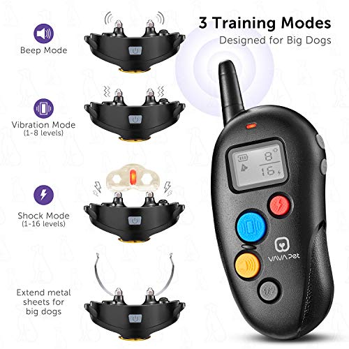 VAVA Pet Dog Training Collar – Rechargeable with 3 Training Modes, Beep, Vibration & Shock, 100% Waterproof Training Collar, up to 330 Yards Remote Range, Dog Training Set by VAVA Pet (Image #2)