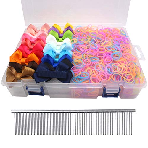 - YOY 20 Adorable Pet Dog Hair Bows with Clips & 1000 Rubber Bands & 1 Steel Grooming Comb Set for Groomer,Puppy Top Knot Bowknot Doggy Ponytails Braids and Dreadlocks Cat Kitty Accessories