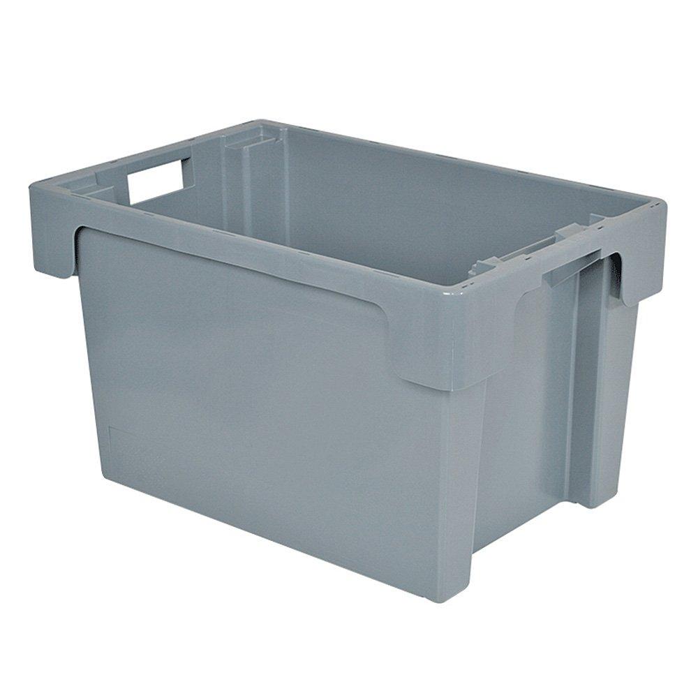Drehstapelbehälter, LxBxH 600 x 400 x 350 mm, 60 Liter, grau, lebensmittelecht