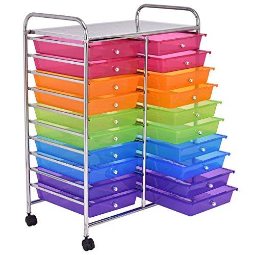 20 Drawers Rolling Cart Storage Scrapbook Paper Studio Organizer Mutli Color by Alitop