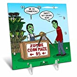 3dRose Rich Diesslins Funny Out to Lunch Cartoons - Zombie Corn Maze - going commercial - 6x6 Desk Clock (dc_266814_1)