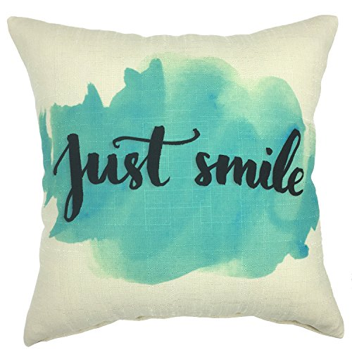 YOUR SMILE Cotton Linen Square Decorative Throw Pillow Case Cushion Cover 18x18 Inch(44CM44CM) (YS243) (Teal Decorative Throw Pillows)