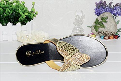 Crc Kvinna Avslappnad Bekväm Sparv Glitter Rhinestone Läder Vippa Lägenheter Tofflor Guld