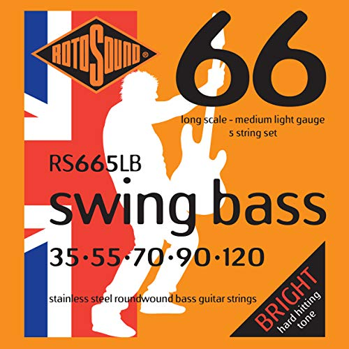 (Rotosound RS665LB Swing Bass 66 Stainless Steel 5 String Bass Guitar Strings (35 55 70 90 120))
