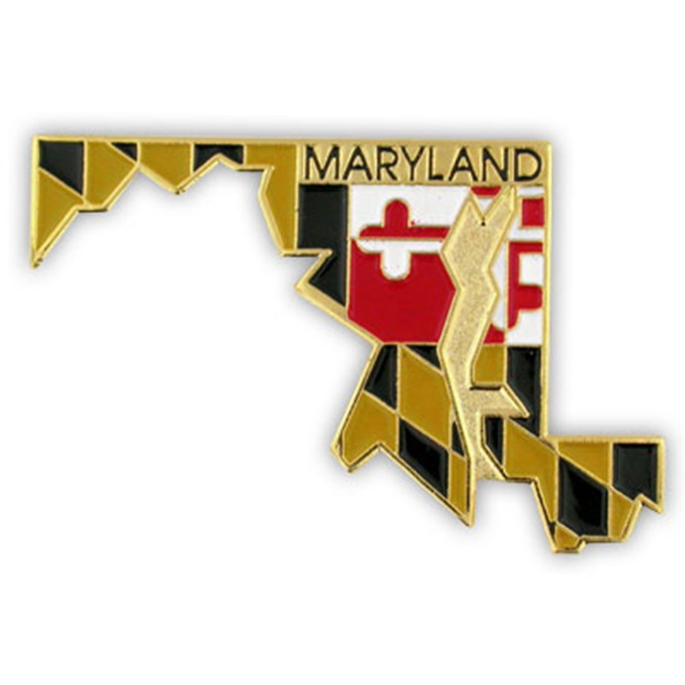 PinMart's State Shape of Maryland and Maryland Flag Lapel Pin