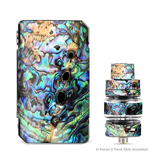 IT'S A SKIN Decal Vinyl Wrap for VooPoo Drag 2 V2 & UForce T2 Tank Vape Sticker Sleeve Cover/Abalone Swirl Shell Design Blue