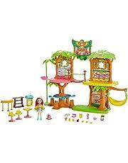 Enchantimals Coffret Maison Café Jungle Enchantée, Mini-poupée Peeki Perroquet, Figurine Animale Sheeny, balançoire et accessoires, jouet enfant, GFN59