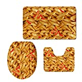 HUGSIDEA Stylish French Fries Bath Mat Set with Rug/ Contour /Lid Cover Non-slip Absorbent Doormats (3 Piece)