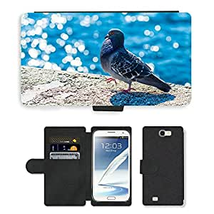Hot Style Cell Phone Card Slot PU Leather Wallet Case // M00109602 Pigeon Dove Animal Grey Urban City // Samsung Galaxy Note 2 II N7100