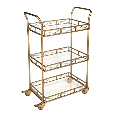 Kate and Laurel Ketia Metal 3 Tiered Tray Bar Cart, Gold