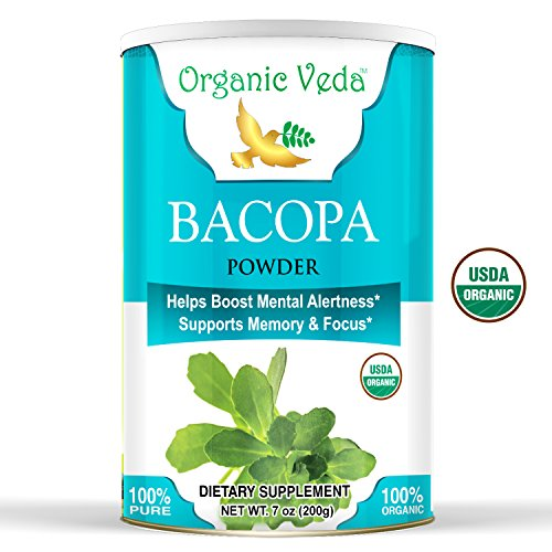 Organic Brahmi Powder - 1 Lb. ★ USDA Certified Organic ★ 100% Pure and Natural Super Food Supplement. Non GMO, Gluten Free. All Natural!