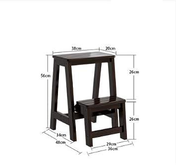 Step stool Taburete Escalera Hogar Ahorrar Espacio Silla de Doble Propósito Escalera Banco de Madera Taburete Pero Yo/A/profunda de la nuez: Amazon.es: Bricolaje y herramientas