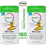 Rainbow Light Kid's One Food-Based Multivitamin 180 Tablets (2 Packs of 90) - Chewable Probiotic, Vitamin and Mineral Supplement; Supports Brain, Bone, Heart, Eye and Immune Health in Kids Gluten Free