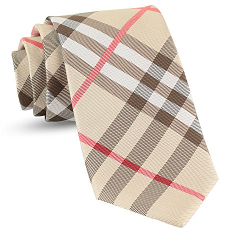 Handmade Plaid Ties For Men Skinny Woven Check Brown Tan Slim Gingham Mens Ties: Thin Tie & Necktie, Stylish Neckties For Every Outfit