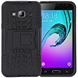 DMG Heavy Duty Mesh Protection Dual Layer Back Cover Case with Kickstand for Samsung Galaxy J3 (Black)