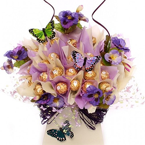 Flowers and Butterfly Rocher Chocolate Candy Bouquet Chocolate Holiday Goodness by Ferrero Rocher]()