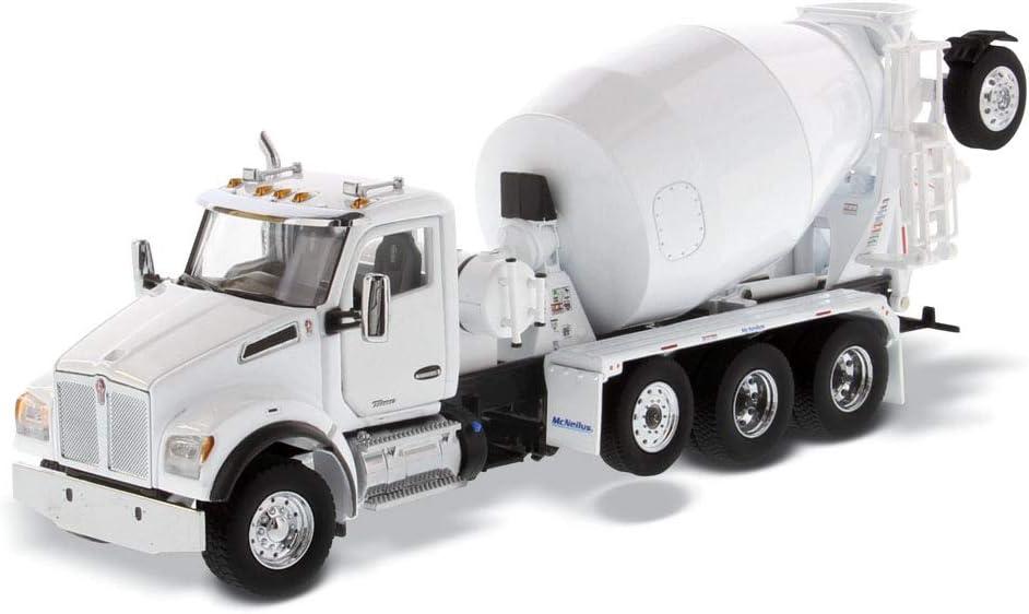 Pearl White Diecast Masters 71081 Transport Series 1:50 Kenworth T880 SBFA Tandem with Lift Axle and McNeilus Bridgemaster Mixer