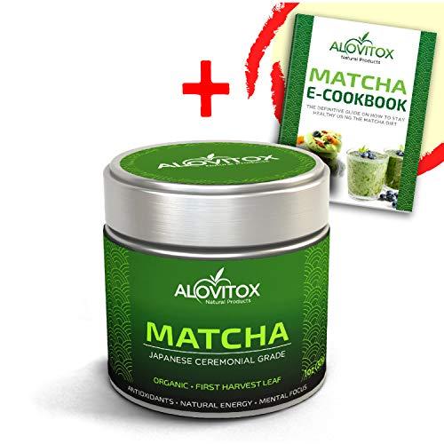 Matcha Green Tea Powder - Organic Pure Japanese First Harvest Ceremonial Grade - Vegan and Gluten Free - Antioxidant Rich, Energy - Baking, Smoothies, Lattes - 1oz. & E-Cookbook by Alovitox