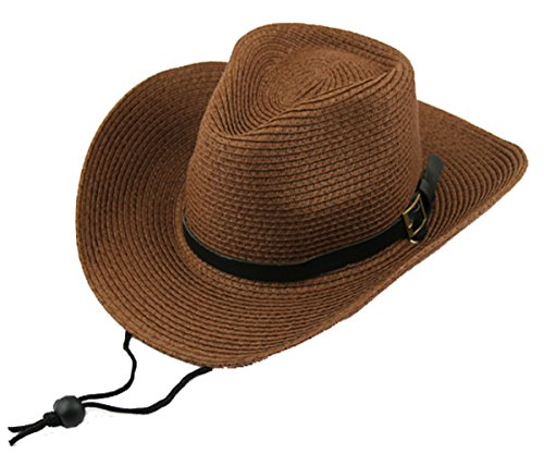 Men's Floppy Packable Straw Hat Beach Cap Classic Western Newsboy Cap Fedora Hat UPF 50+ Roll Up Foldable Large Brim Outback Sun Hat with Adjustable Chin Cord Strap Outdoor Fishing (Brown Chin Strap)
