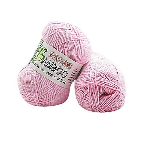 Molyveva Assorted Colors Bonbons Yarn Skeins - Soft Tencel Bamboo Cotton Yarn Skeins - Perfect for Any Knitting and Crochet Mini Project - 1 Piece (Light Pink)