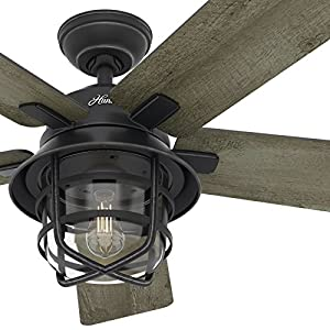 7. Hunter Fan 54inch Weathered Zinc Outdoor Ceiling Fan with a Clear Glass LED Light Kit and Remote Control, 5 Blade (Certified Refurbished)