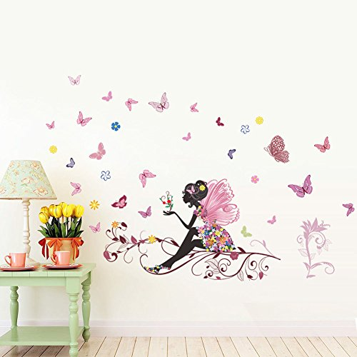 Home Decal Removable Flower Girl And Butterfly Wall Sticker Vinyl Decor wall