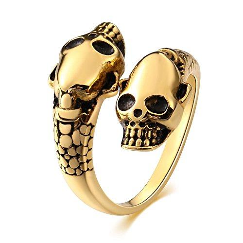 Adisaer 316L Men's Stainless Steel Rings Double Skeletal Skull Vintage Reto Punk Mens Rings Size 12 ()